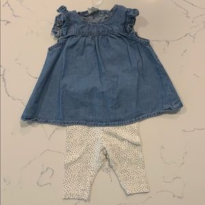 H&M newborn denim blouse and leggings